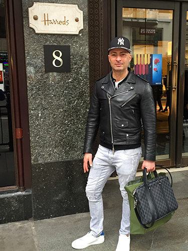 Sir Mauro Tiziani shopping at Harrods